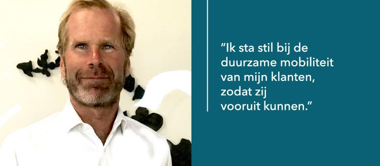 Maak kennis met Pieter Elias, adviseur en eigenaar Elias Mobiliteit, helpt zijn klanten het wagenpark en de mobiliteit te verduurzamen.